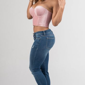 Pink Velvet Padded Bralette Crop Top