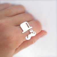mr. mustache ring with top hat and monocle V2 - sterling silver ring