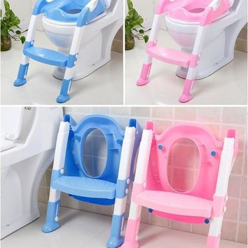 Baby potty seat with ladder children toliet seat cover kids toliet folding potty chair training portable free shipping