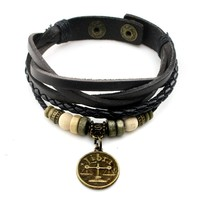 Lucky Handmade Natural Constellation Zodiac Sign Logo Genuine Real Leather Bracelet with Charms, Beads, Button, Adjustable Size, Gift for Him or for Her, Unisex (Libra - Black Leather)