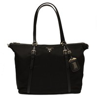 Prada Black Tessuto Soft Calf Nylon Shopping Tote Bag B4253M