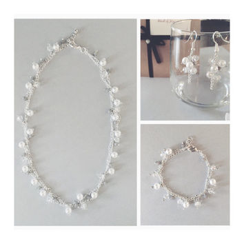 3pc Bridal Set, Bridal Jewelry, White Pearl Cluster Necklace, Bracelet & Earrings