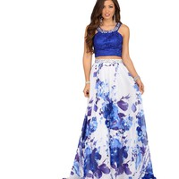 Hannah- White Jewel Trimmed Floral Two Piece