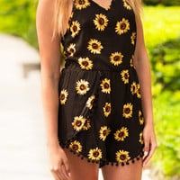 Cupshe Lazy Day Sunflower Printing Romper