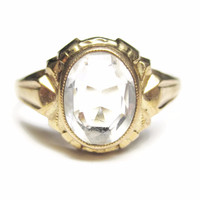 Antique 10K Yellow Gold 1.1 Carat White Topaz Ring Size 5 by Budlong Docherty & Armstrong