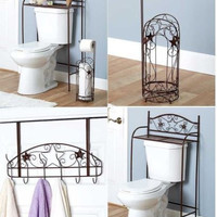 Bathroom Organizer Storage Bronze Scroll Star Holder Hooks Toilet Paper Towels
