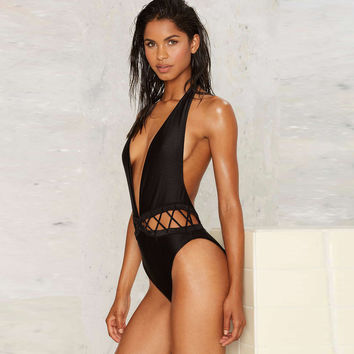 Black Bodysuits Deep V-neck Halter Cut Out Lace-up Swimsuits