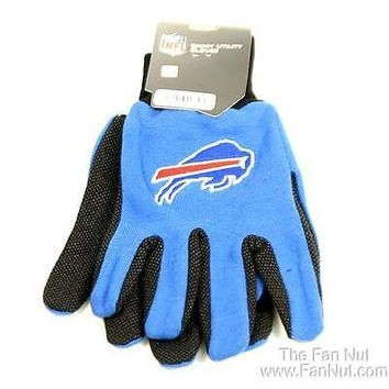 Buffalo Bills Two Tone Pair GRIP Gloves Sport Work Utility Football