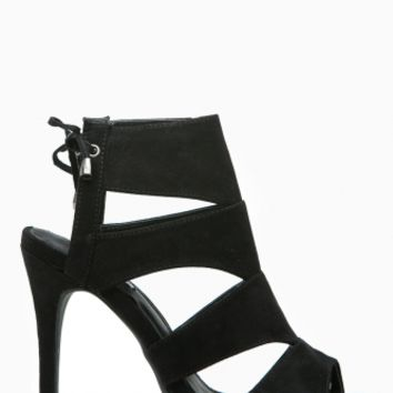 Black Faux Suede Cut Out Open Toe Lace Up Heels @ Cicihot Heel Shoes online store sales:Stiletto Heel Shoes,High Heel Pumps,Womens High Heel Shoes,Prom Shoes,Summer Shoes,Spring Shoes,Spool Heel,Womens Dress Shoes