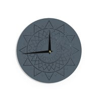 "Matt Eklund ""Lunar Sundial"" Blue Geometric Wall Clock"