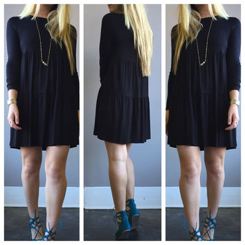 A Babydoll Tiered Dress in Black