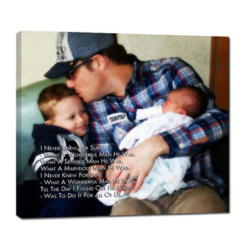 Custom New Dad Gift Photo of Kids Picture Art text song, lyrics or poem Wall Canvas art 14X14