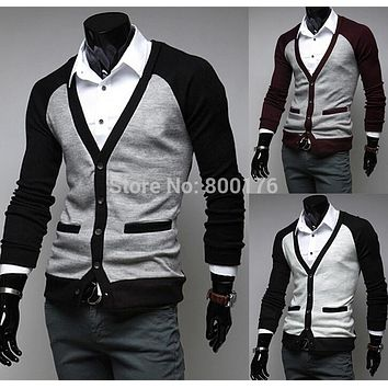 free shipping 2016 New Winter Fashion Men's Band Double Pocket Single Breasted Sweater, Men's V-neck size M-2XL