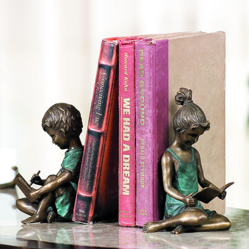 SPI HOME Beautiful Figurine of Reading Boy and Girl Bookends Pair in Brass