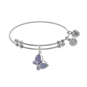 White Rhodium Over BrassInches CZ Purple Butterfly Adjustable Bangle Bracelet - 7.25""