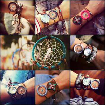 US FREE SHIPPING, A set of one eco friendly handmade dreamcatcher necklace and one dreamcatcher bracelet