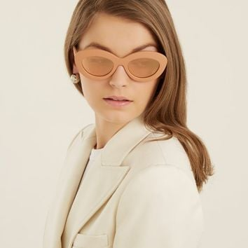 Fluxus oval cat-eye acetate sunglasses | Le Specs | MATCHESFASHION.COM US