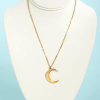 Just the Crescent-tials Gold Moon Necklace