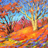 "Autumn Oak  — Original Oil Painting On Canvas By D. Spiros  Size: 40""x28"""