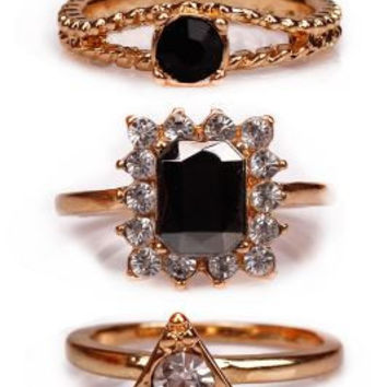 Stacked Black Rubies