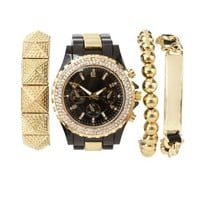 Black Rhinestone Watch & Bracelets - 4 Pack by Charlotte Russe