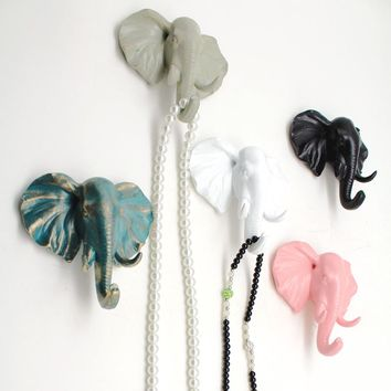 Animal Head Wall Hanging Door Robe Coat Hook  Home Resin Clothes Hat Bag Hanger Hook Wall Mounted Elephant