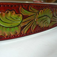 Large dog collar with Sheridan style tooling