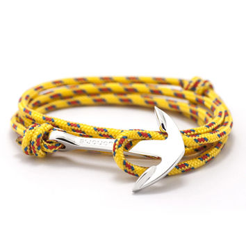 Silver Anchor On Yellow Rope Bracelet