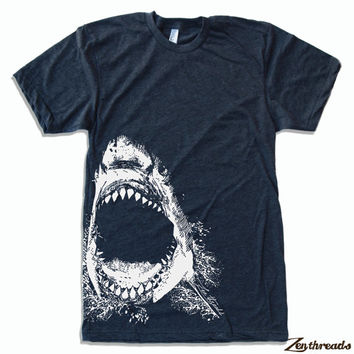 Mens SHARK american apparel T Shirt S M L XL (16 Colos Available)