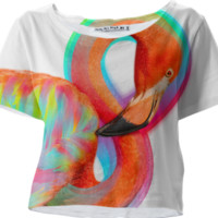 Infinite Possibilities (Neon Infinity Flamingo) Crop T-Shirt created by soaringanchordesigns   Print All Over Me