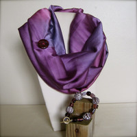 FREE SHIPPING Purple Ombre Silky Infinity Scarf & Matching Bracelet Gift Set