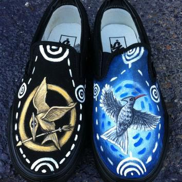 The Hunger Games Catching Fire,Mockingjay inspired Hand Painted Vans Shoes from Huntin