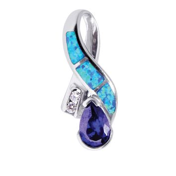 Silver with Rhodium Finish Shiny Textured Created Opal Bow Pendant with Teardrop Amethyst+White Stone