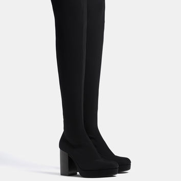 Elastic platform over-the-knee boots - SHOES - Bershka United Kingdom