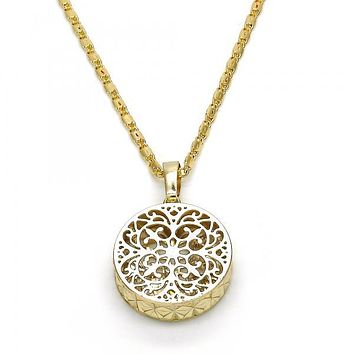 Gold Layered 04.63.1352.18 Fancy Necklace, with White Cubic Zirconia, Diamond Cutting Finish, Golden Tone