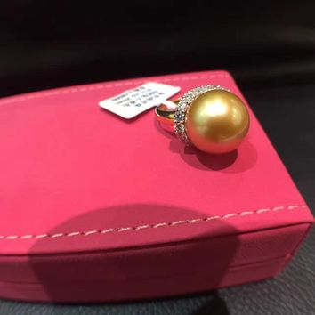 15MM natural southsea gold pearl ring 18K gold with real diamond fine women jewelry free shipping