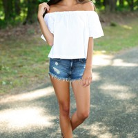 Footloose And Fancy Free White Off-The-Shoulder Top
