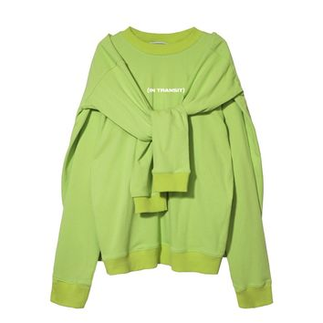 In Transit Double Pullover Sweatshirt | Neon Green