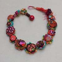 Colorful fiber necklace, crochet jewelry with fabric buttons, OOAK