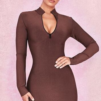 Brown Round Neck Long Sleeve Bandage Dress