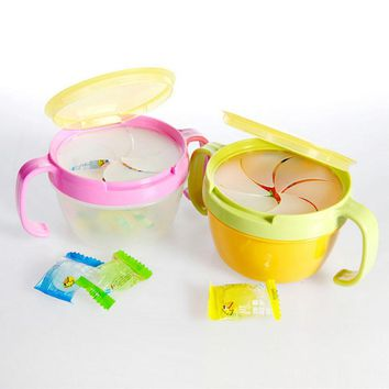 Baby Biscuits Small Bowl Child Double The Handle Snack Cup Candy Snack Box Infant Edible Safety Dinnerware