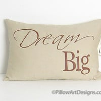 Dream Big Pillow Cover Sand Linen Hand Painted