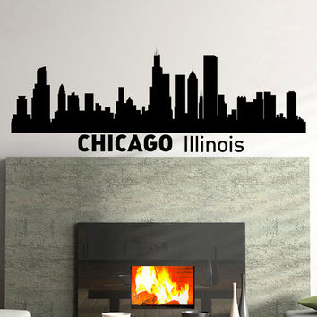 Wall Decals Vinyl Stickers Chicago Illinois City Skyline Silhouette Art Home Decor for Living Room C004