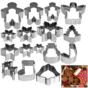 HOMEMAXS 16pcs Christmas Stainless Steel Cake Biscuit Moulds Cookie Cutter Fondant Icing Mold DIY Baking Tools
