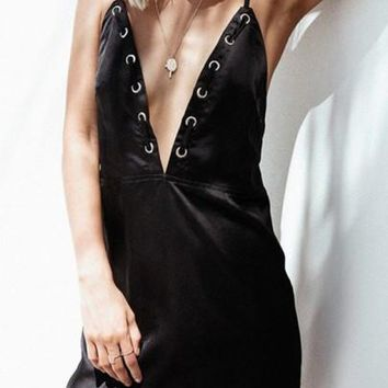 Black Tie Back Plunging Neckline Fashion Mini Dress