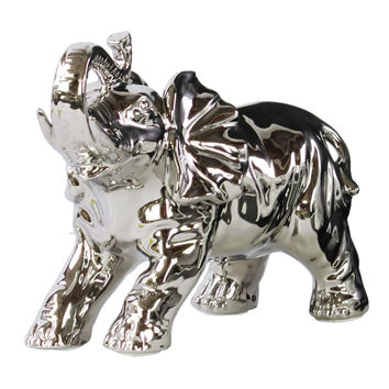Porcelain Standing Trumpeting Elephant Figurine Polished Chrome Finish Silver
