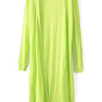 Green Long Sleeve Loose Fitting Knitted Long Cardigan