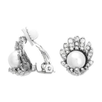 CZ by Kenneth Jay Lane Cubic Zirconia and Freshwater Cultured Pearl Earrings