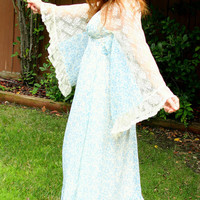 Vintage 70s Bohemian Hippie Goddess Lace Butterfly Angel Sleeve Maxi Dress