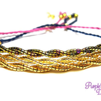 Dainty Gold Twisted Bracelet, Delicate Beaded Bracelet, Adjustable Minimalistic Friendship Bracelet with Gold Seed Beads